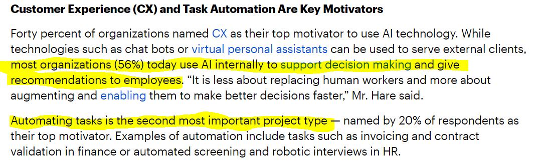 key motivators to adapt AI or ML